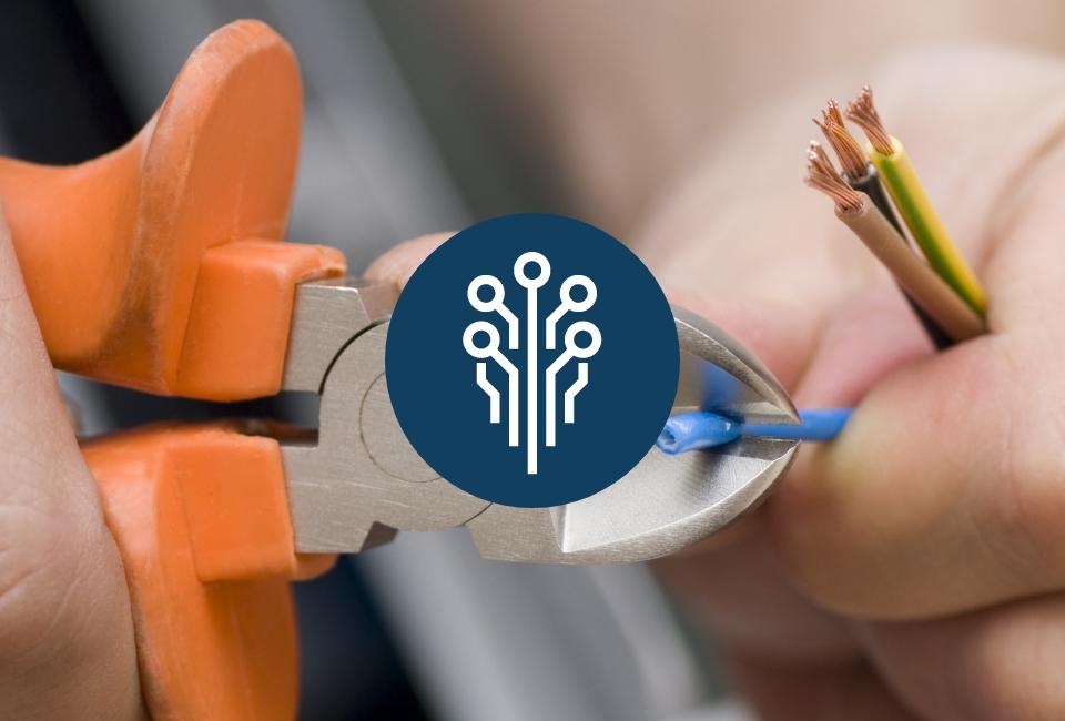 Ikona przewodów natle cięcia kabli